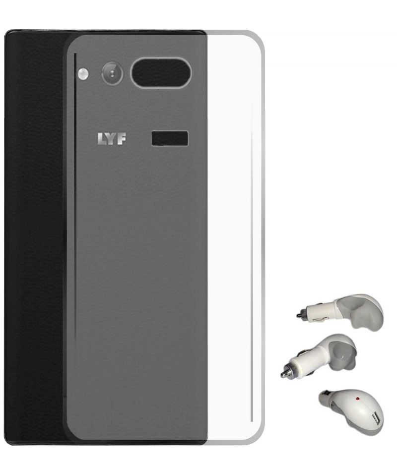 Buy Tbz Transparent Silicon Soft Tpu Slim Back Case Cover For Lyf Wind 4 With USB Car Charger online