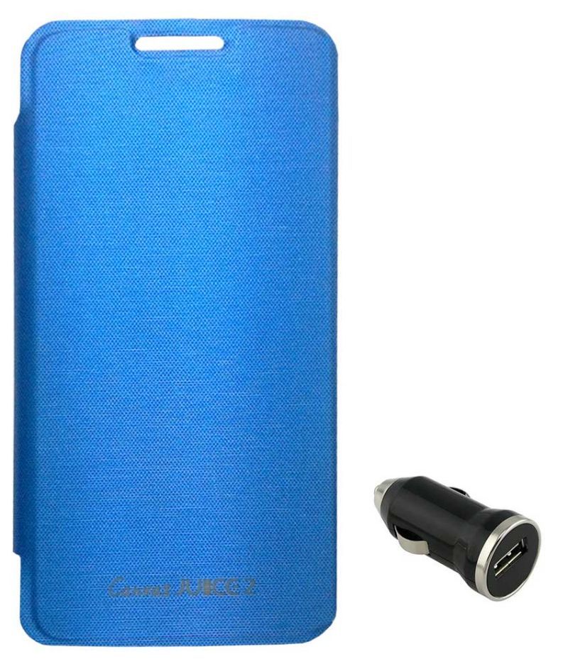 Buy Tbz Flip Cover Case For Micromax Canvas Juice 2 Aq5001 With Car Charger - Blue online