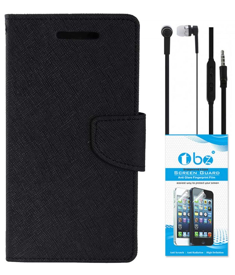 buy online b4b83 7922d Tbz Diary Wallet Flip Cover Case For Vivo Y55l With Earphone And Tempered  Screen Guard - Black