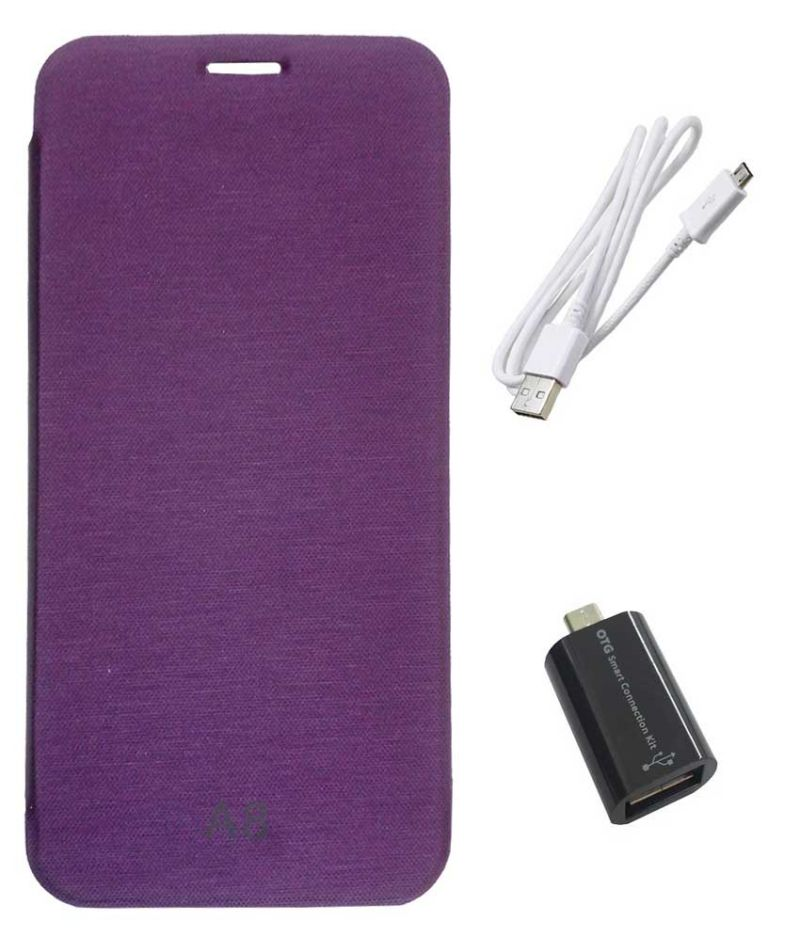 Buy Tbz Flip Cover Case For Samsung Galaxy A8 With Micro USB Otg Connector Adapter And Data Cable - Purple online