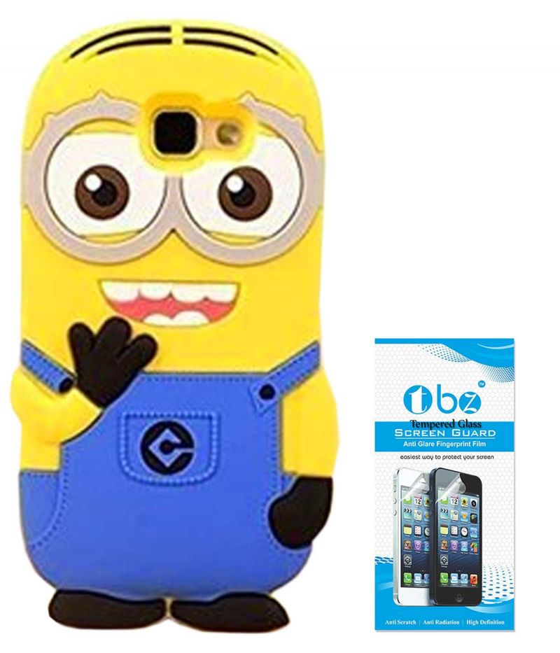 Buy Tbz Cartoon Minion Soft Rubber Silicone Back Case Cover For Samsung Galaxy J7 Max With Tempered Screen Guard online