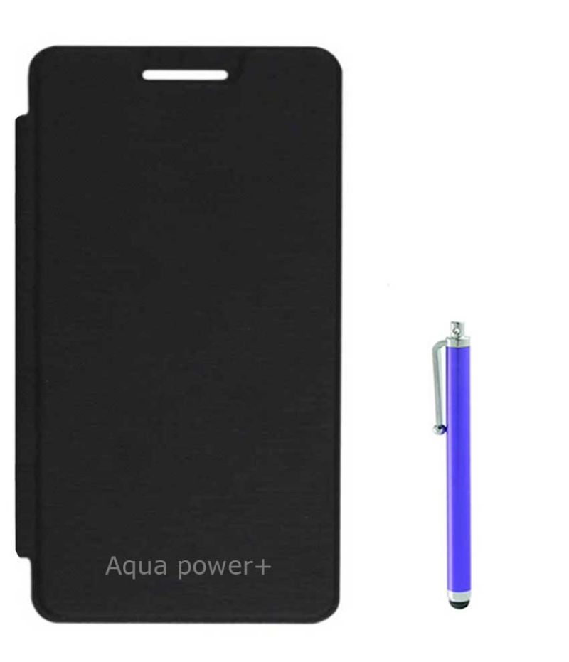 first rate 5b3d5 77692 Tbz Flip Cover Case For Intex Aqua Power+ With Stylus - Black