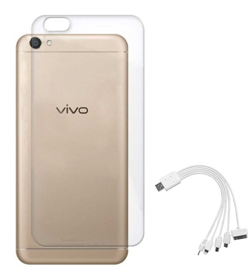 Buy Tbz Transparent Silicon Soft Tpu Slim Back Case Cover For Vivo Y66 With 5 In 1 Multi Charging USB Cable online