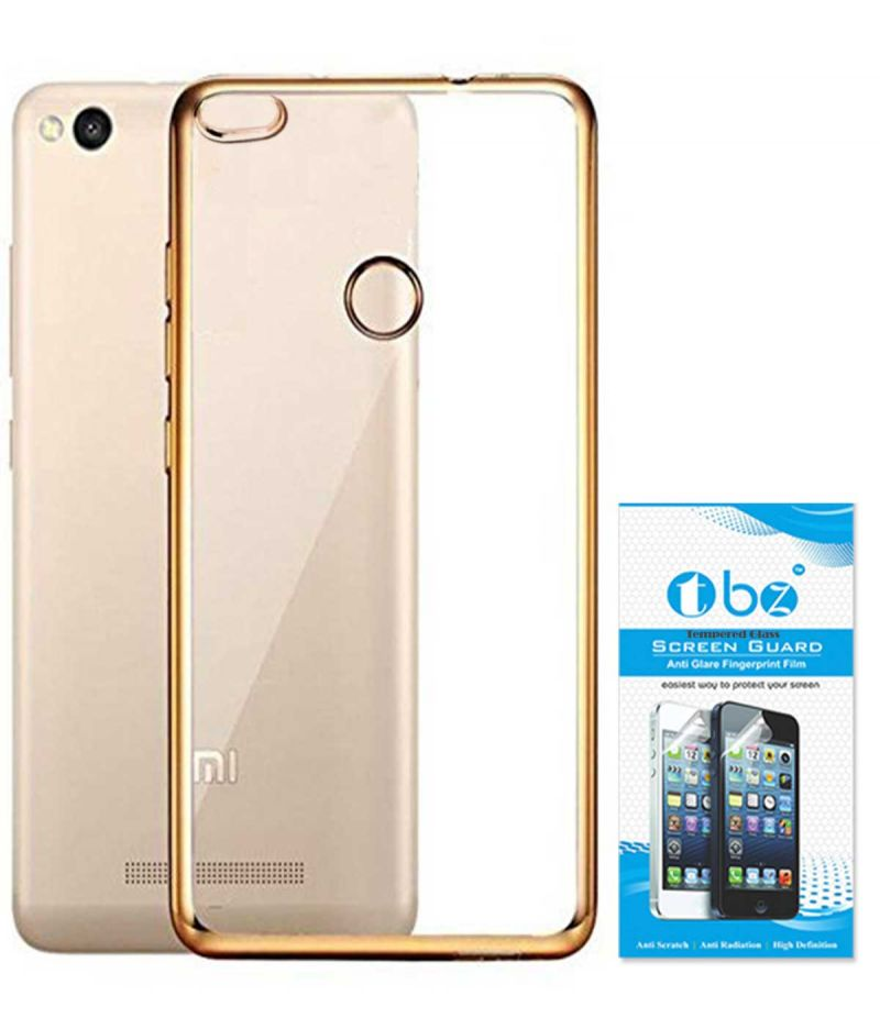 Buy Tbz Transparent Electroplated Edges Tpu Back Case Cover For Xiaomi Redmi 3s With Tempered Screen Guard -golden online
