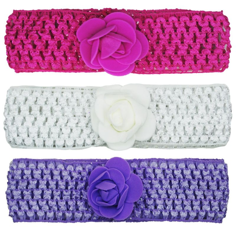 Buy Crochet Cutwork Flower Baby Headband (Pink , White , Purple) 3 Pcs Set online