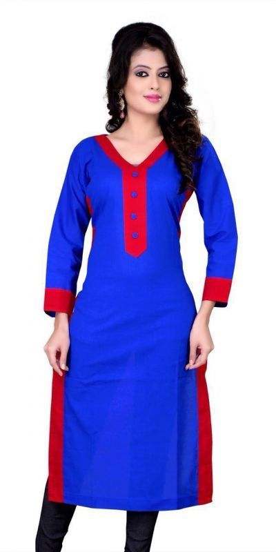 Buy Shop Integrity Women's Georgette Blue Printed Semi-stitched Kurti (fits Max Up To 42