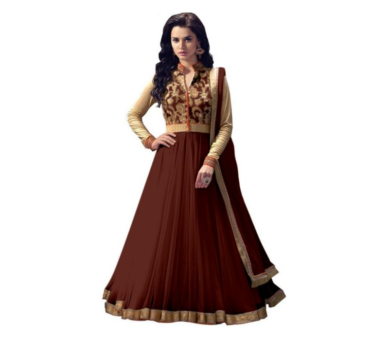 Buy Vinni tex Brown Net fabric Semi-stitched Anarkali suit online