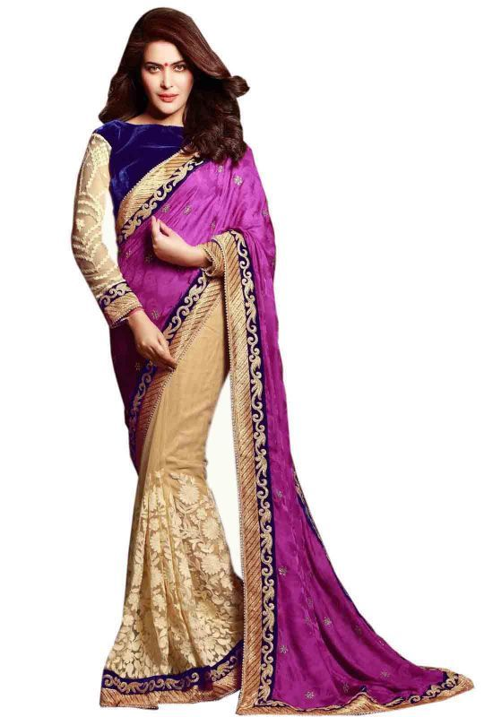 Buy Try N Get's Purple And Beige Color Silk And Net Stylish Designer Saree (product Code - Tng-stz-7280) online