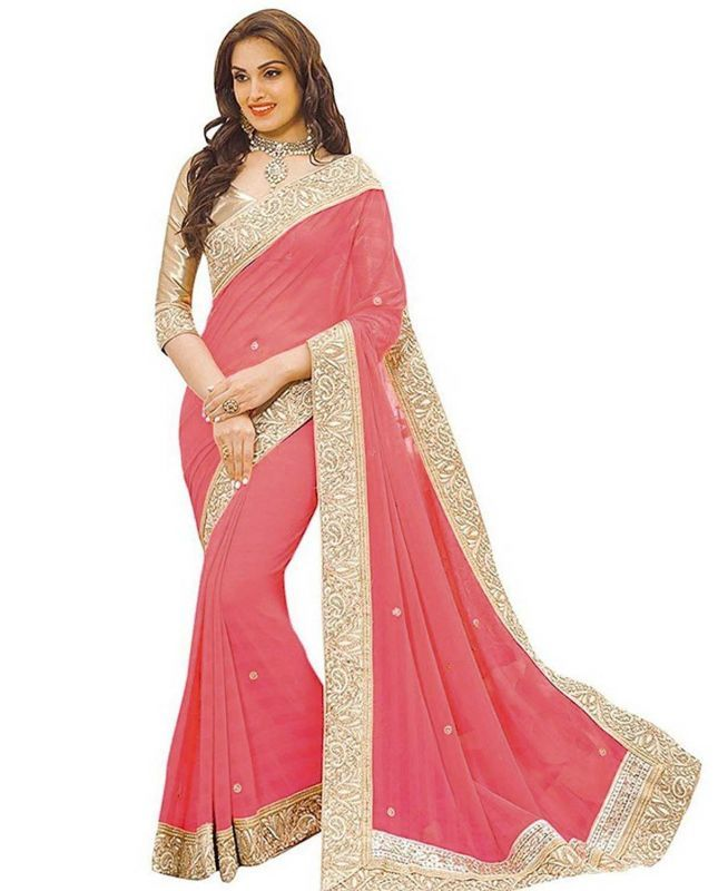 Buy Shree Mira Impex Peach Embroidered Lycra Saree Sari With Blouse Piece online