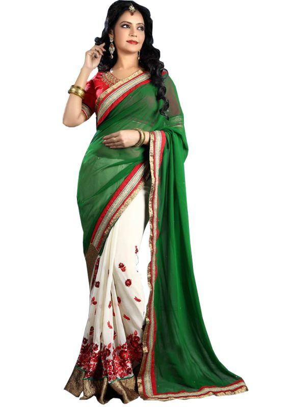 Buy Isha Enterprise Multi Color Georgette Wedding Saree online