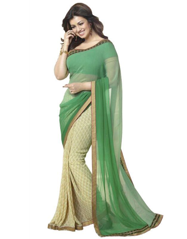 Buy Prayosha Enterprise Designer Pista Color Georgette Saree, Pys104sr3001 online