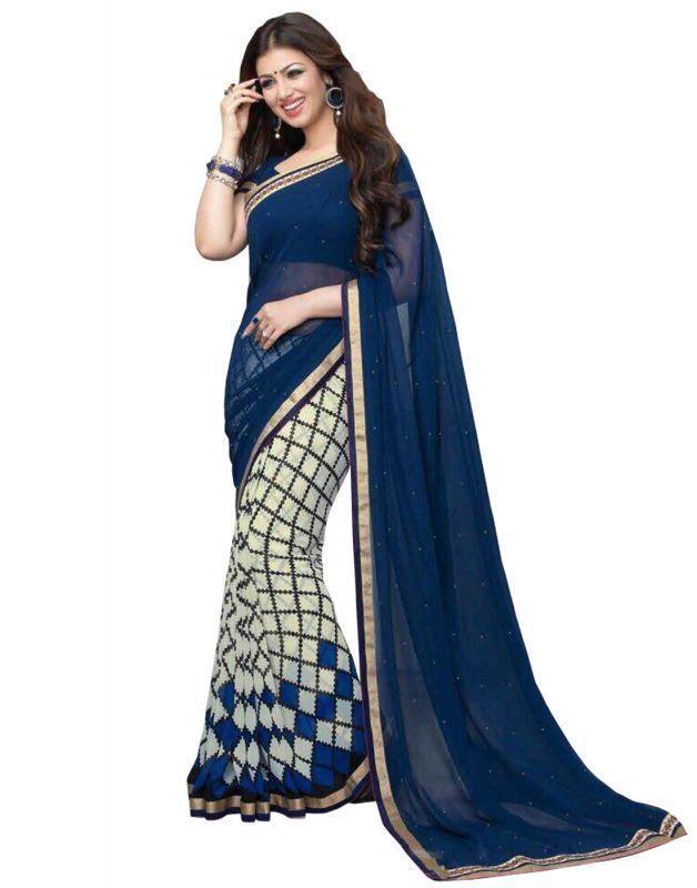 Buy Prayosha Enterprise Designer Blue Color Georgette Saree, Pys104sr3006 online