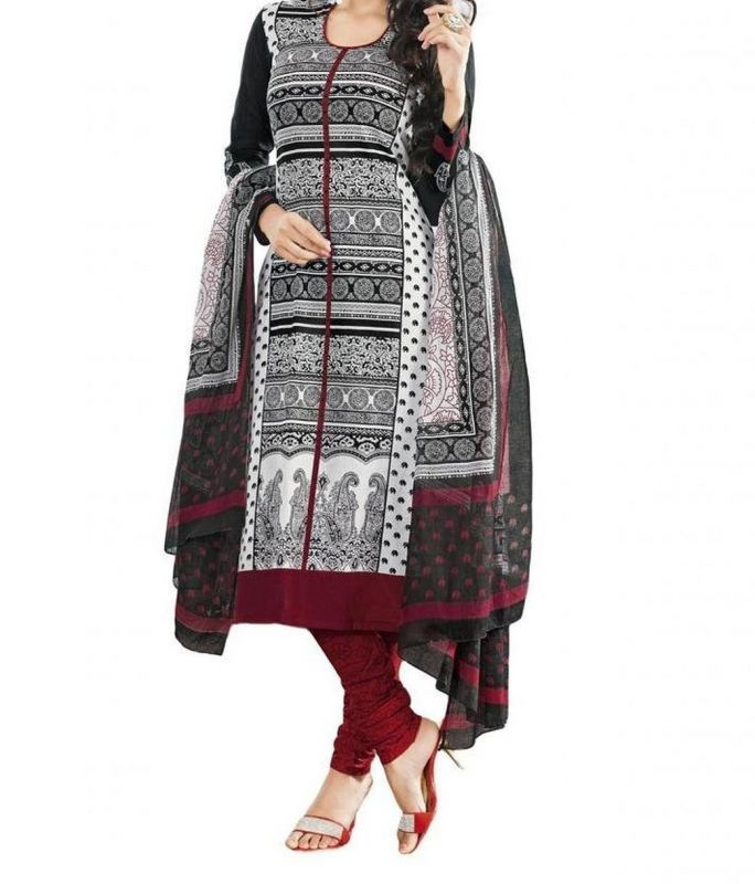 Buy Vedant Vastram Black Colour Poly Cotton Unstitched Printed Dress Matrial (code - Vvdm_dencyblack) online