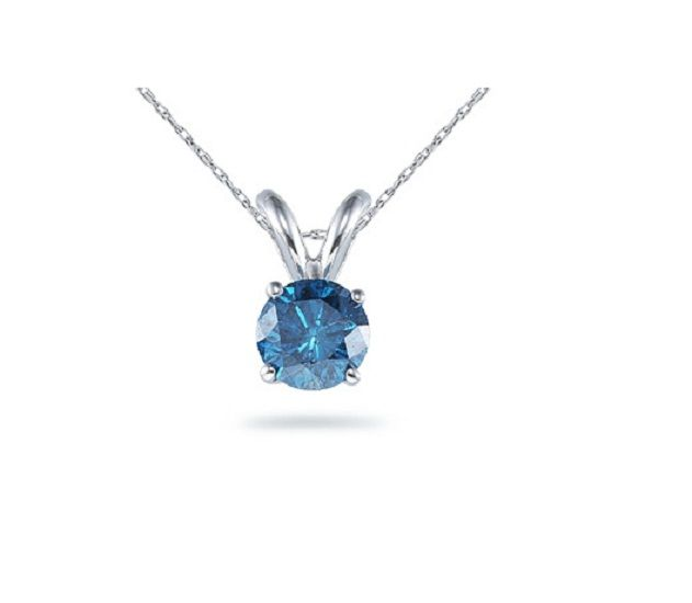Buy Sheetal Impex Certified 0.60 Cts Blue Diamond 14kt White Gold Pendant - P00015 online