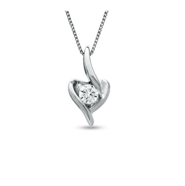 Buy Sheetal Impex Certified 0.05tcw Real Diamond Heart Shaped Pendant 14k Gold online