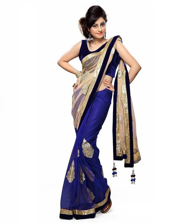 Buy Fabpandora Women's Designer Heavy Bordered Net & Supernet Saree online