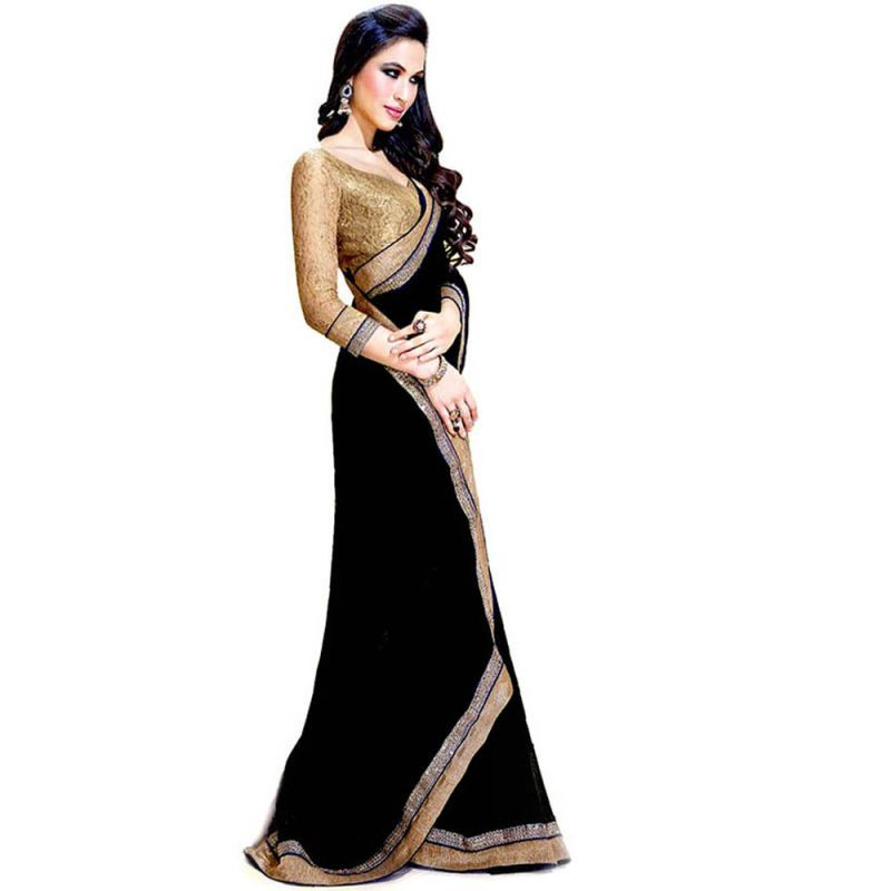 Buy Trusha Dresses Black Plain Chiffon Saree For Women - (product Code - Ragini_black) online