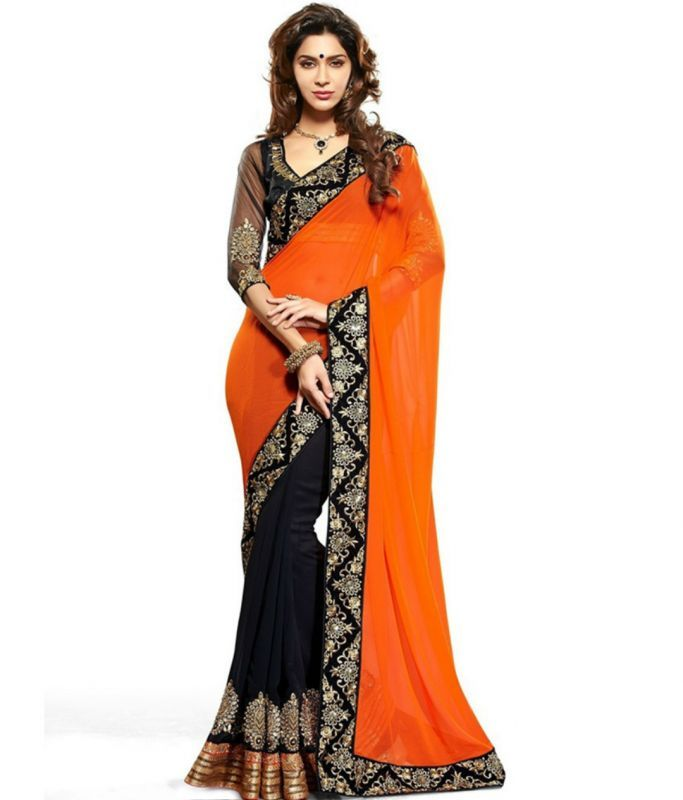 Buy Shopeezo Daily Wear Orange & Black Color Georgette Saree/sari online