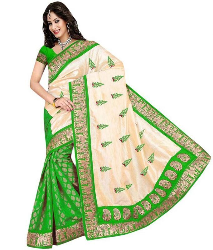 Buy Charming Green & Net Brasso Saree online