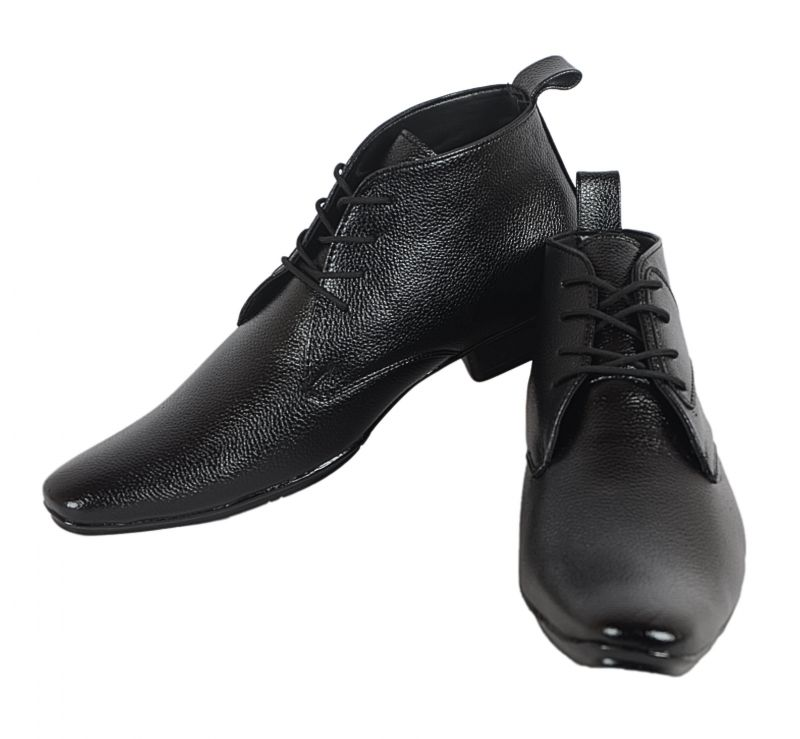 Synthetic Leather Office Black Boots