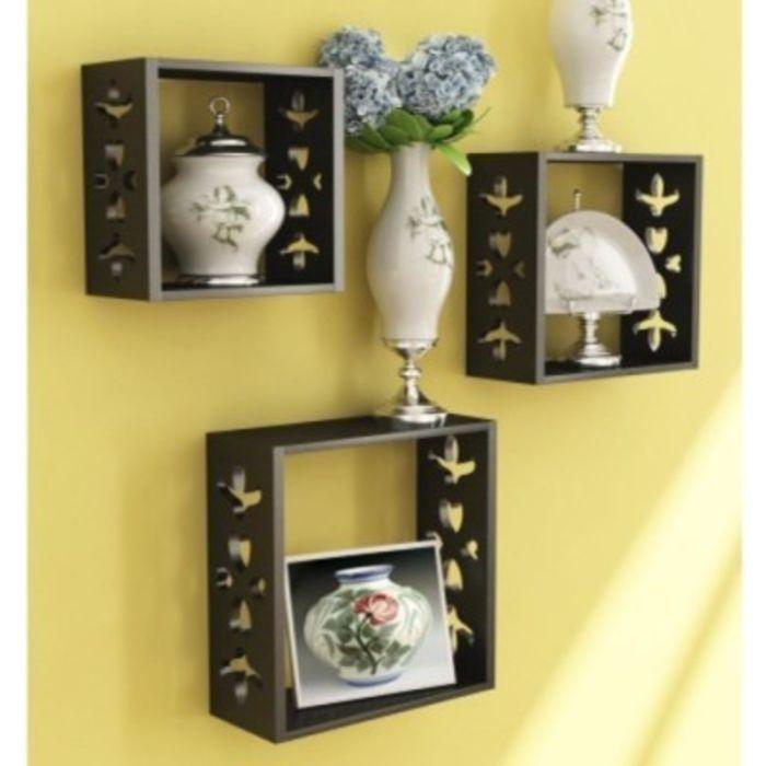 Buy Onlineshoppee Square Nesting Wooden Wall Shelf Size(lxbxh-10x3.5x10) Inch online