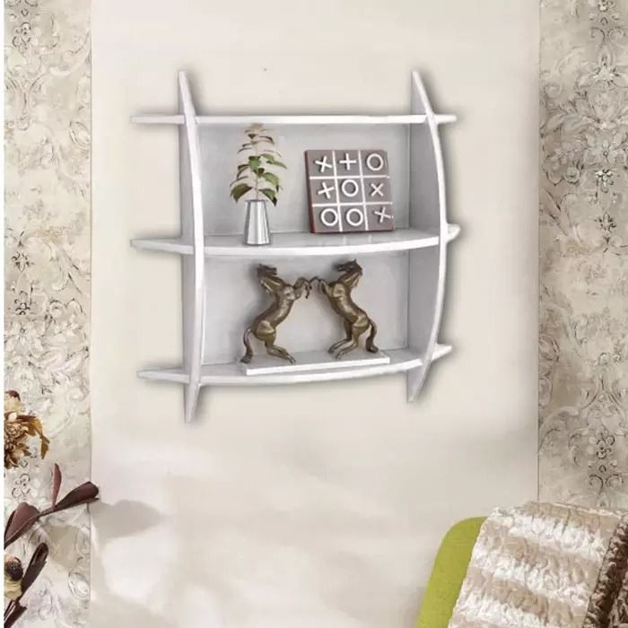 Buy Onlineshoppee Beautiful 3 Tier Mdf Wall Shelves/rack - White Afr2999 online