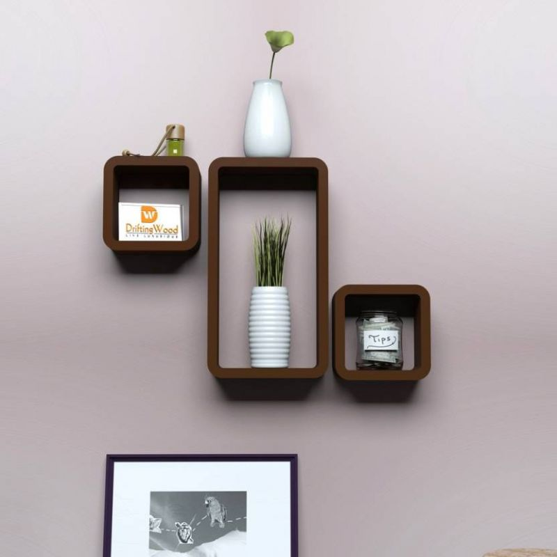 Buy Onlineshoppee Mdf Cube Shape Floating Wall Shelves Set Of 3 Cube26 online