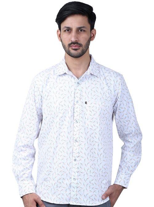 49fcbec0d7ba Buy Favio Men's Slim Fit Full Sleeve Cotton White Printed Shirt online