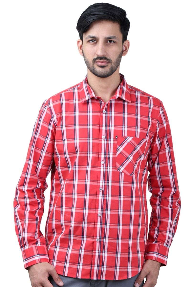 Buy Favio Men's Slim Fit Full Sleeve Shirt Cotton Multi Red Checks online