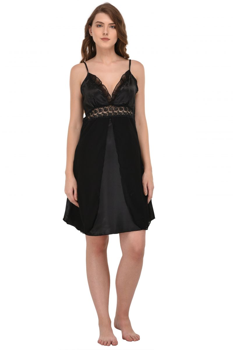 Buy You Forever Women's Nighty (code - Yf-ultngt-blk) online