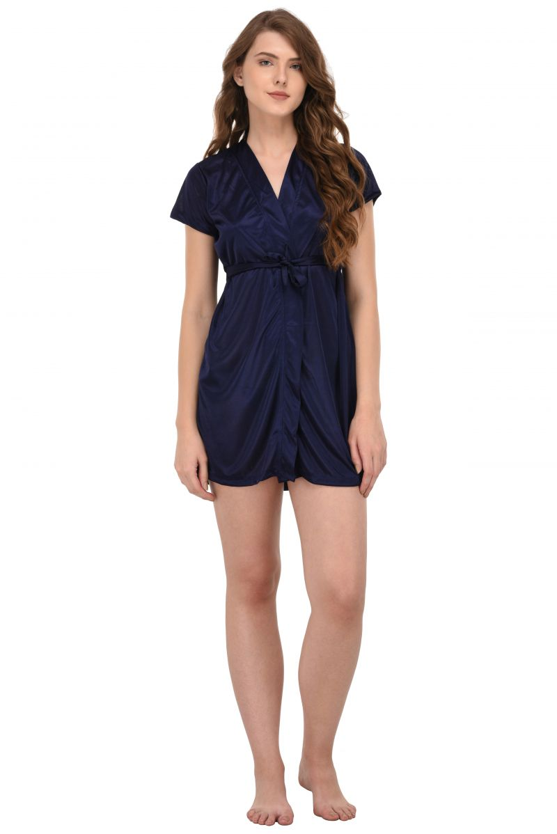 Buy You Forever Solid Navy Short Gown (code - Yfgnnb) online
