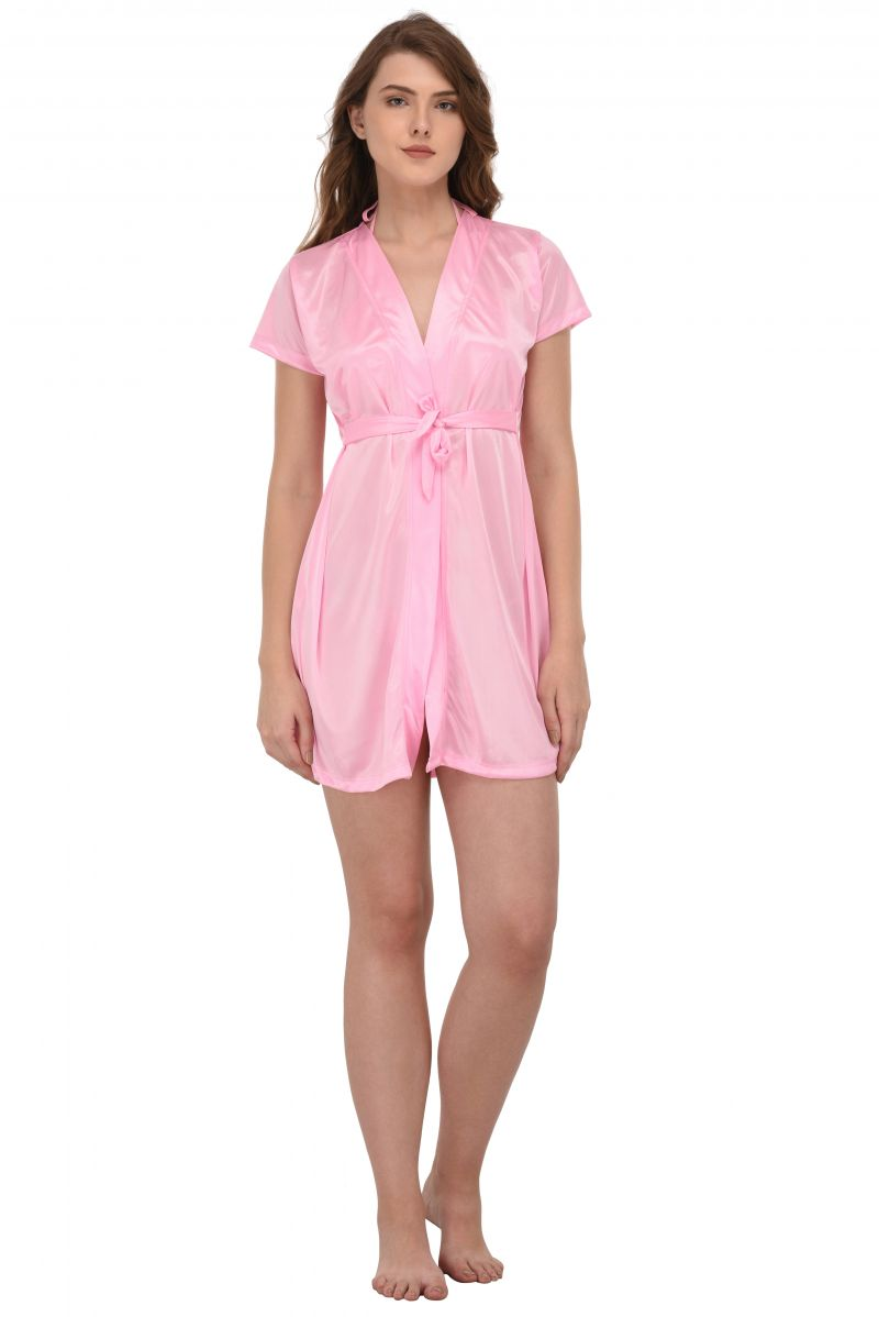 Buy You Forever Solid Pink Short Gown Code Yfgnpnk Online Best