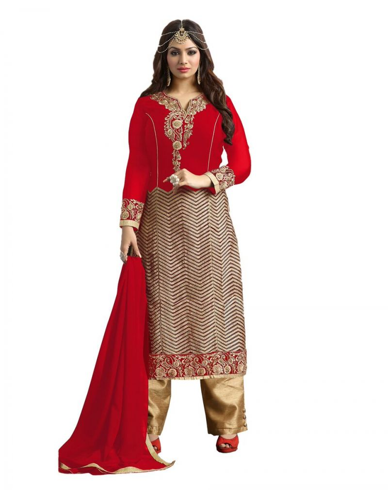 Buy Multi Retail Red Embroidered Georgette Unstitched Dress Material With Dupatta online