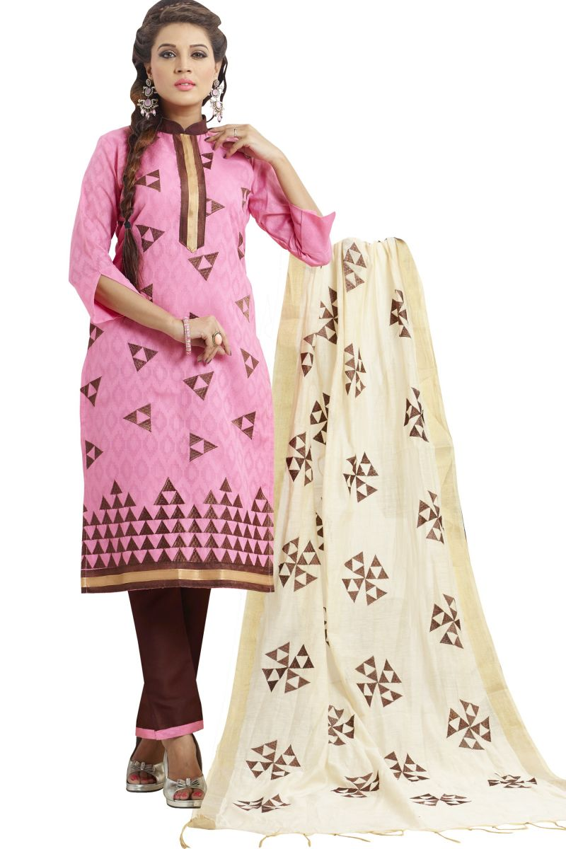 Buy Multi Retail Pink Embroidery Cotton Dobby Jacquard Unstitched Salwar Suit With Dupatta_c433dl1004bsa online