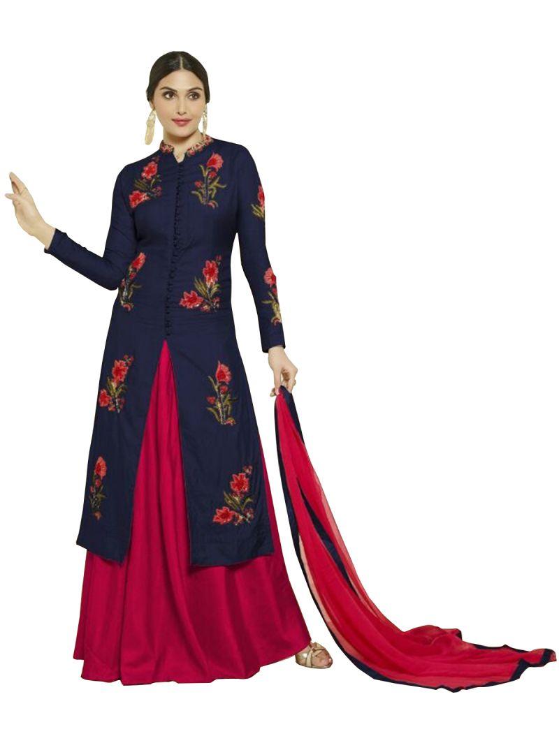 Buy Multi Retail Navy Blue Embroidery Satin Cotton Unstitched Salwar Suit With Dupatta_c485dlmastblom online