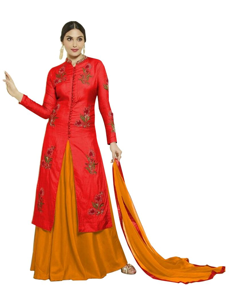 Buy Multi Retail Orange Embroidery Satin Cotton Unstitched Salwar Suit With Dupatta_c487dlmastorom online