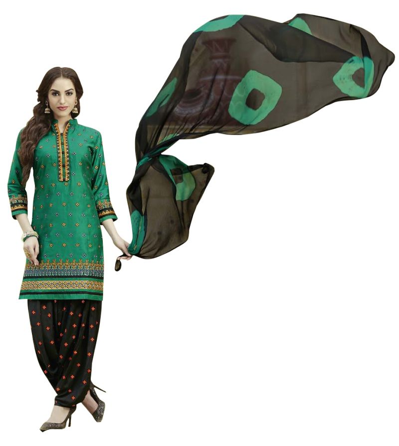 Buy Multi Retail Green Embroidered Cotton Unstitched Dress Material With Dupatta_c611dlsf732sn online