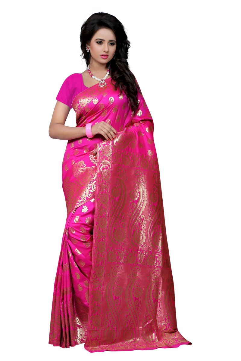 Buy Multi Retail Pink Banarsi Silk Party Wear Jacquard/ Self Design Saree With Unstitched Blouse _c653se527sa online