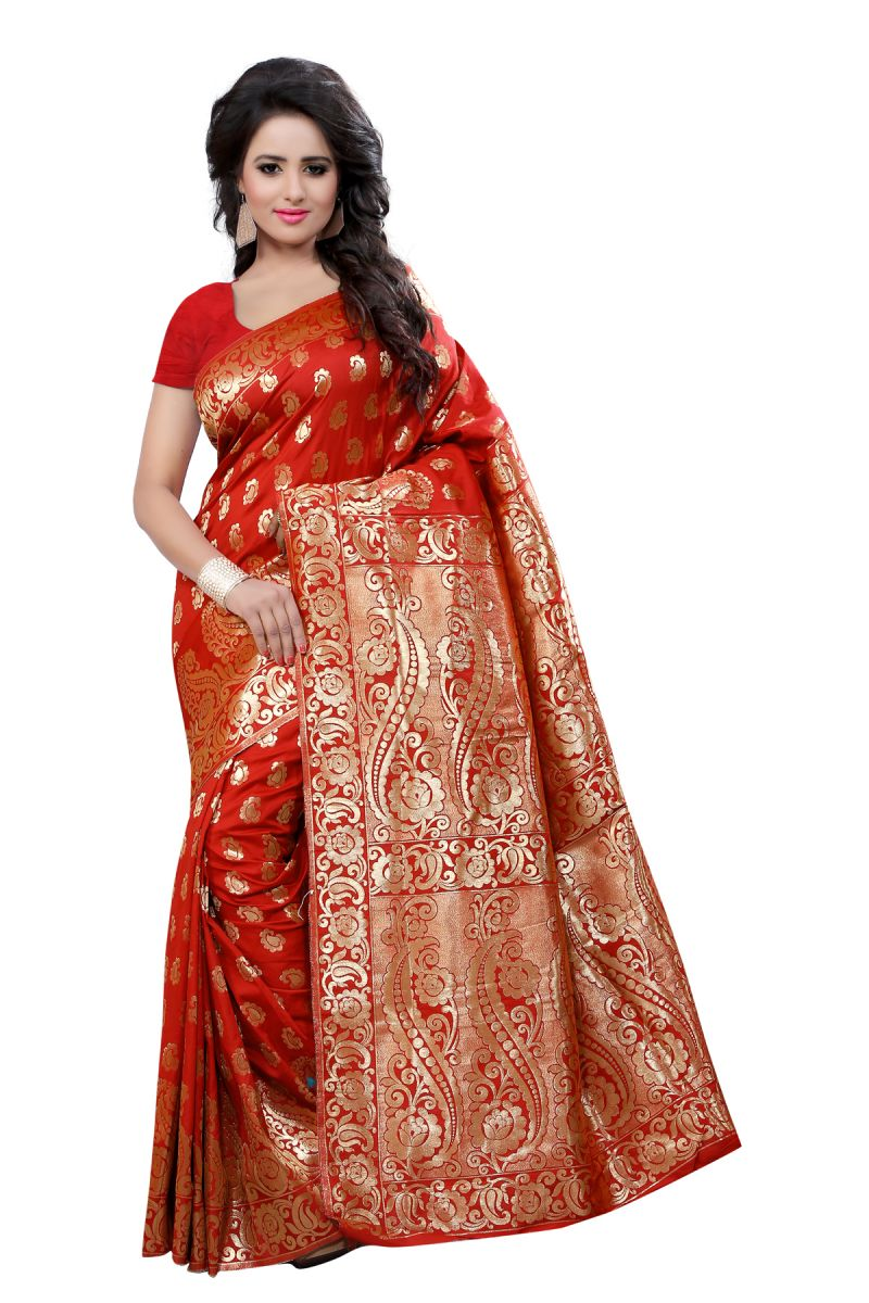 Buy Multi Retail Red Banarsi Silk Party Wear Jacquard/ Self Design Saree With Unstitched Blouse _c655se529sa online