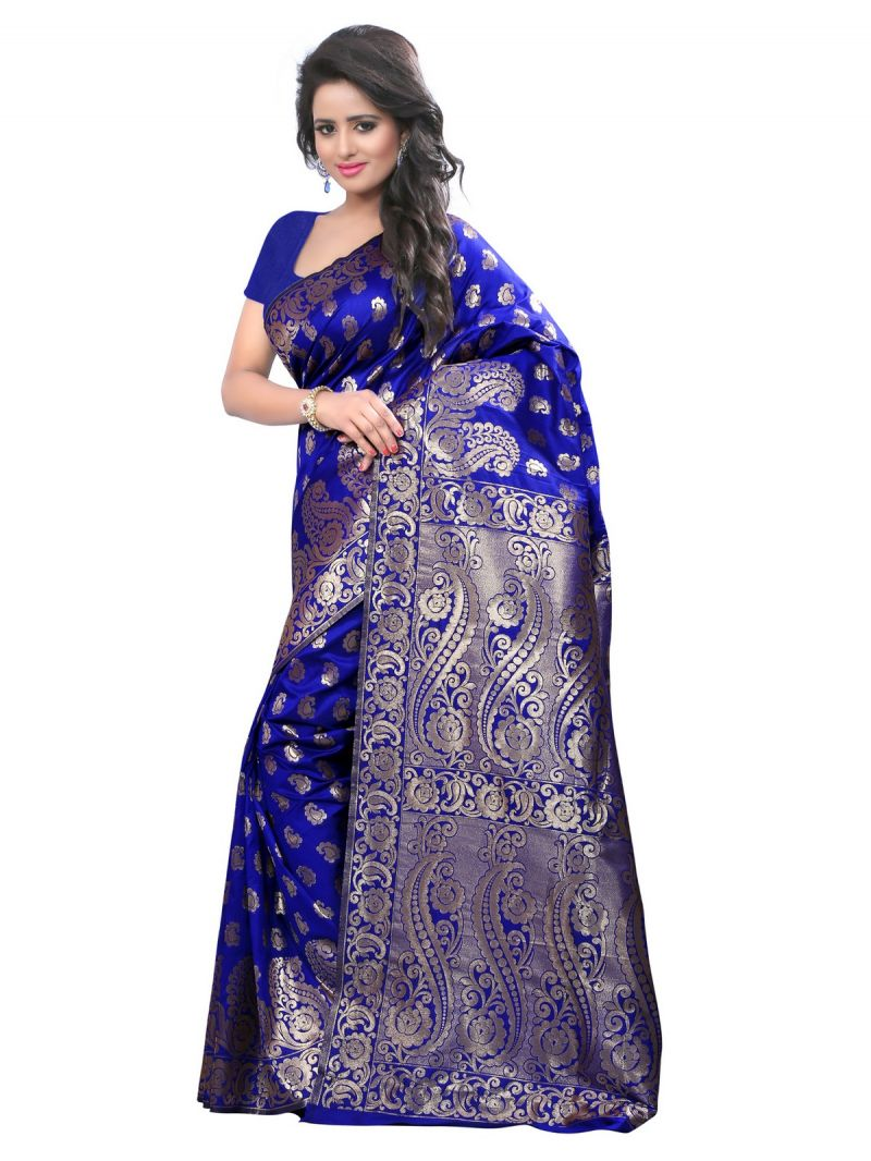 Buy Multi Retail Blue Banarsi Silk Party Wear Jacquard/ Self Design Saree With Unstitched Blouse _c656se530sa online