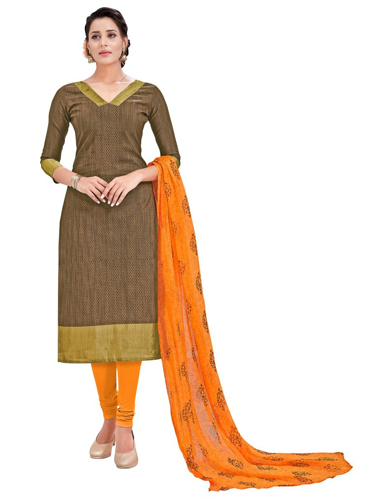 Buy Multi Retail Brown Embellished Banarsi Unstitched Dress Material With Dupatta_c795dl9asg9010sa online