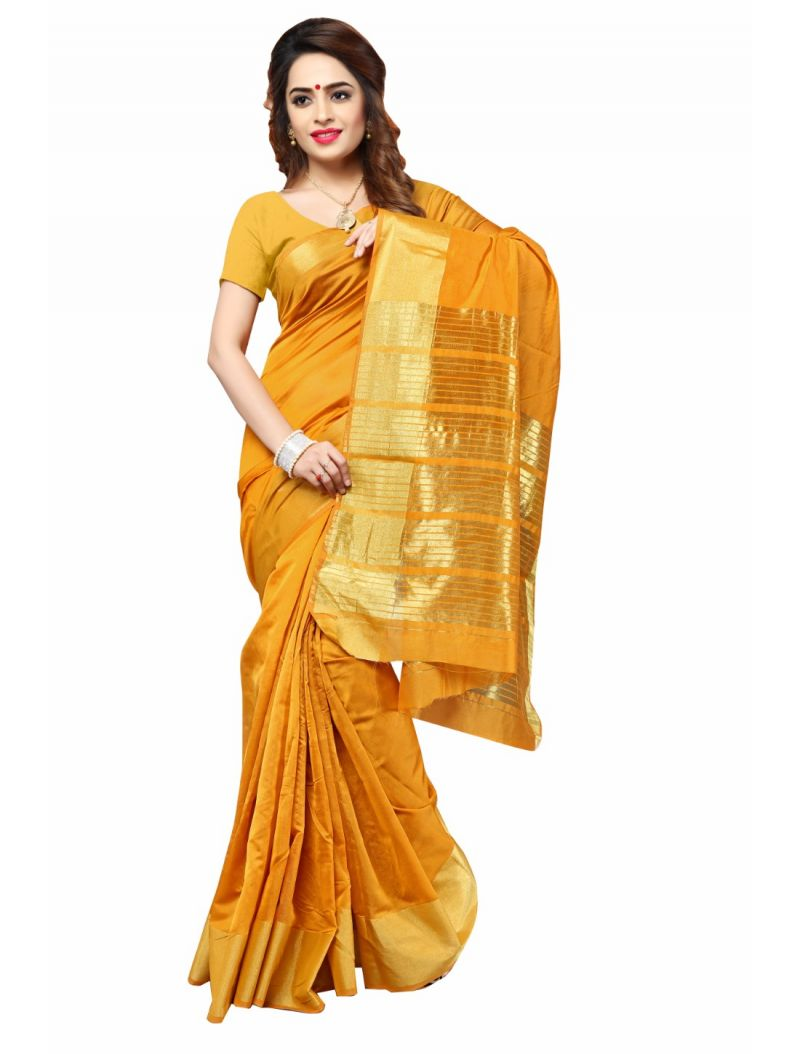 Buy Multi Retail Yellow Cotton Silk-border Patta Party Wear Jacquard/ Self Design Saree With Unstitched Blouse(code - C897se1111-jsr) online