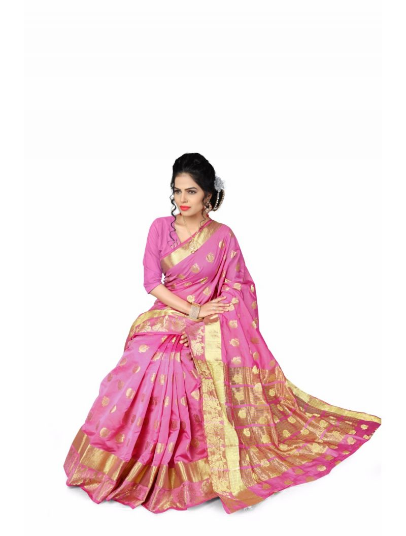 Buy Multi Retail Pink Cotton Silk-jari Butta Party Wear Jacquard/ Self Design Saree With Unstitched Blouse(code - C903se1114-fsr) online