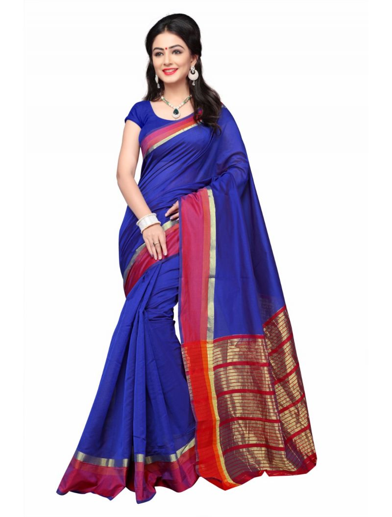 Buy Multi Retail Blue Cotton Silk Party Wear Jacquard/ Self Design Saree With Unstitched Blouse(code - C918se1128-esr) online