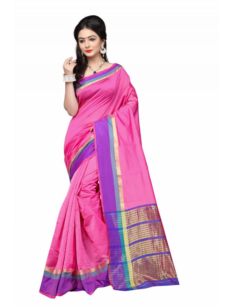 Buy Multi Retail Pink Cotton Silk Party Wear Jacquard/ Self Design Saree With Unstitched Blouse(code - C920se1128-gsr) online