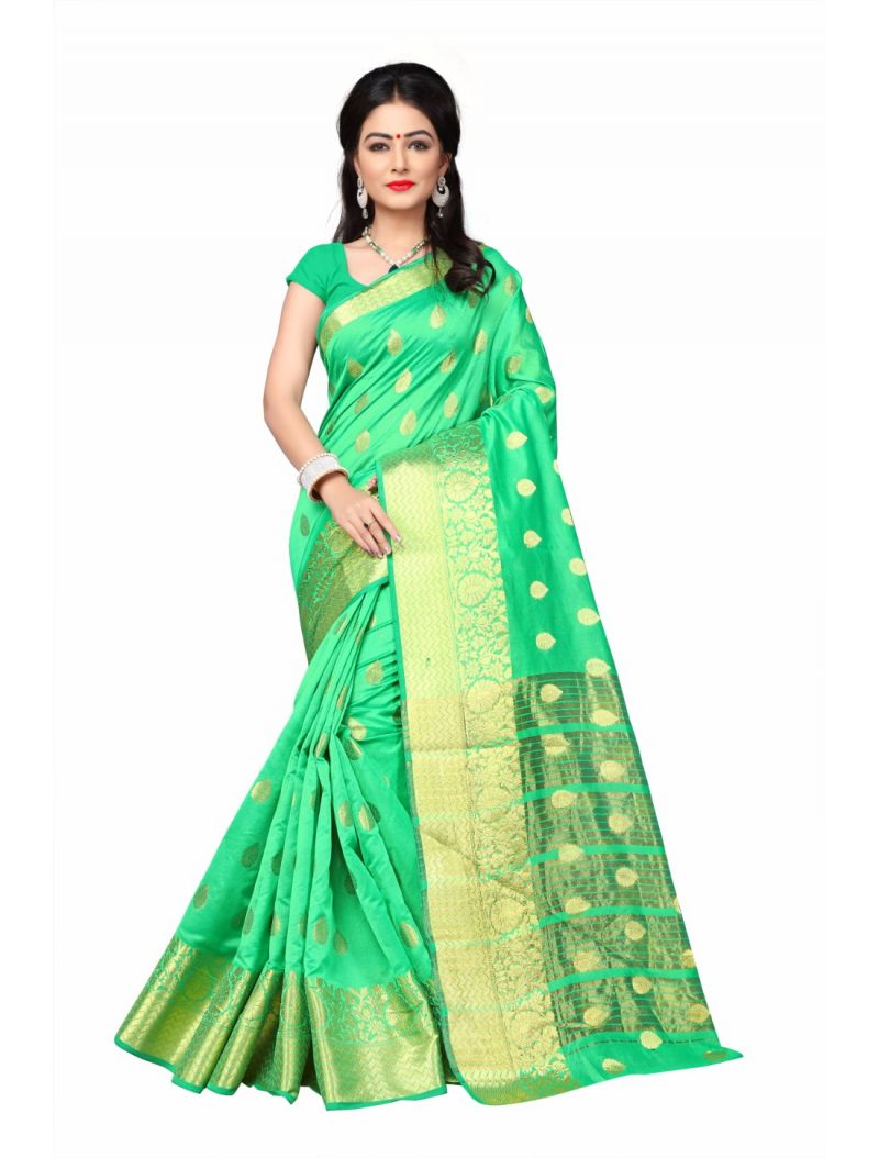 Buy Multi Retail Green Cotton Silk Party Wear Jacquard/ Self Design Saree With Unstitched Blouse(code - C928se1129-esr) online