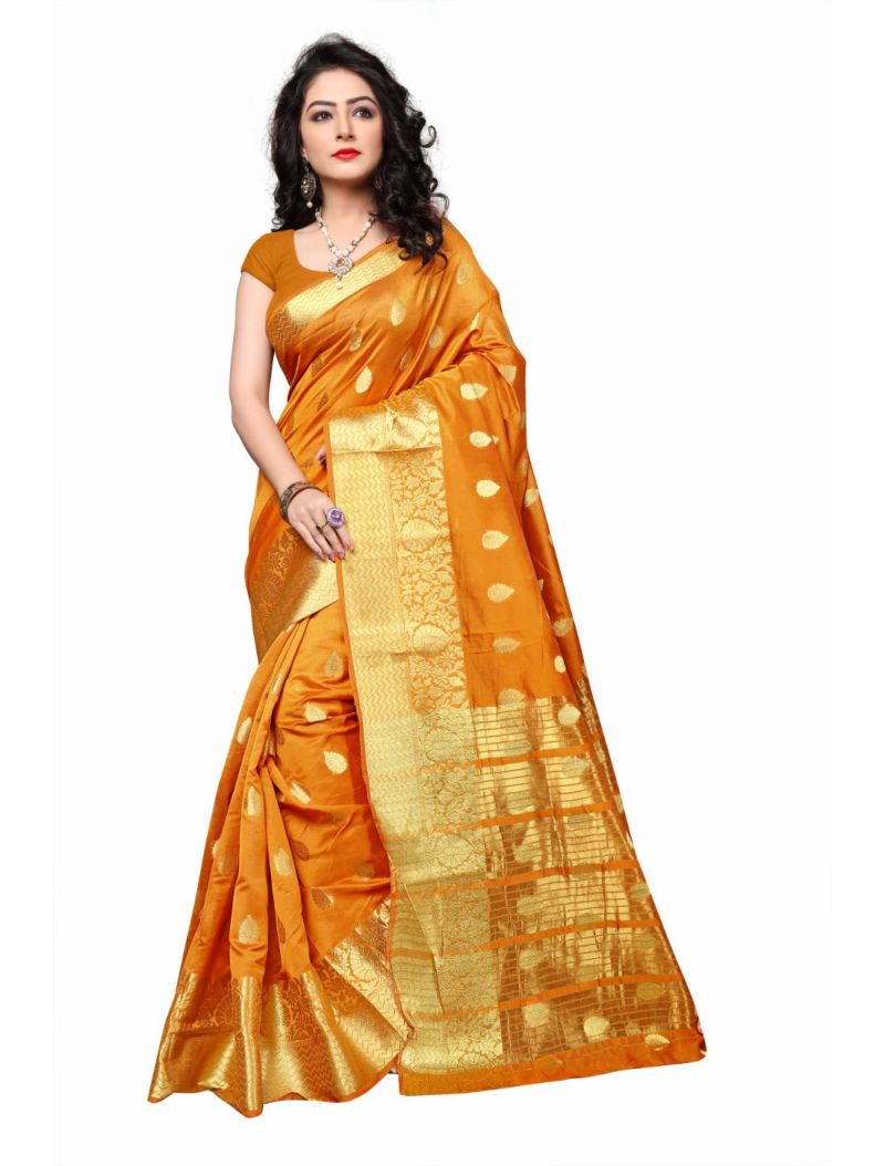 Buy Multi Retail Yellow Cotton Silk Party Wear Jacquard/ Self Design Saree With Unstitched Blouse(code - C933se1129-jsr) online