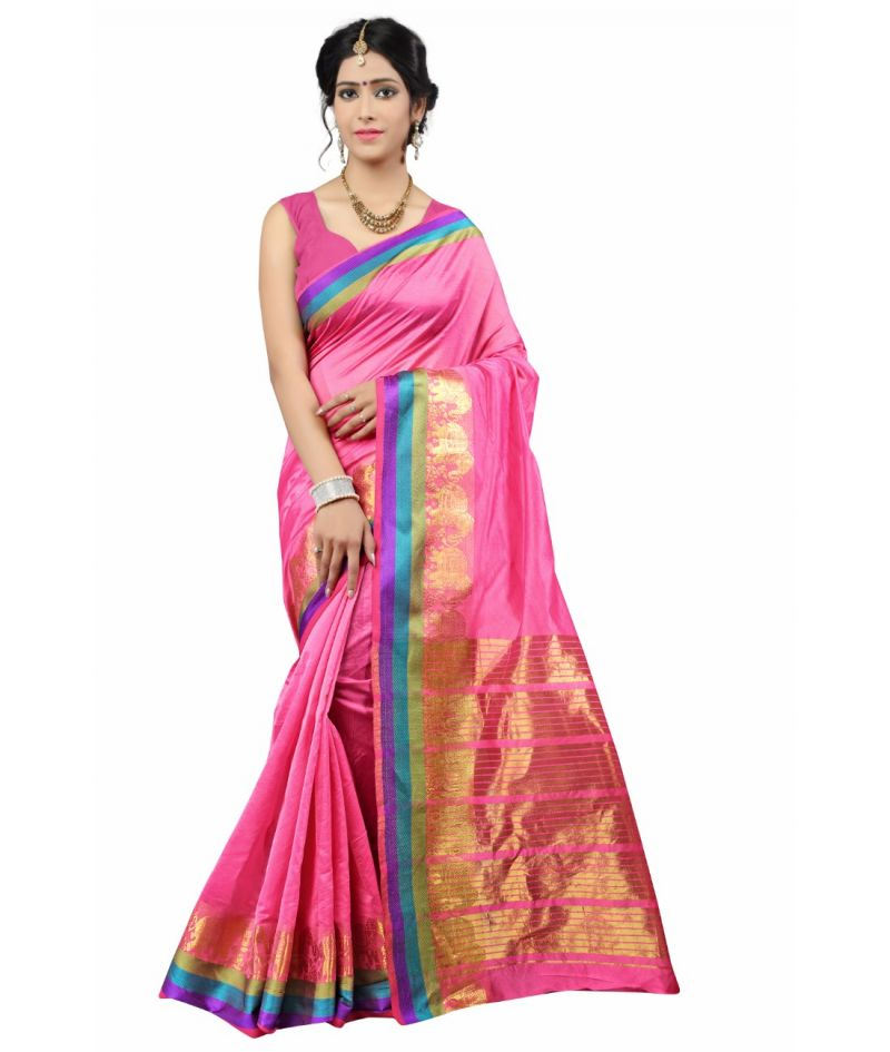 Buy Multi Retail Pink Cotton Silk Party Wear Jacquard/ Self Design Saree With Unstitched Blouse online