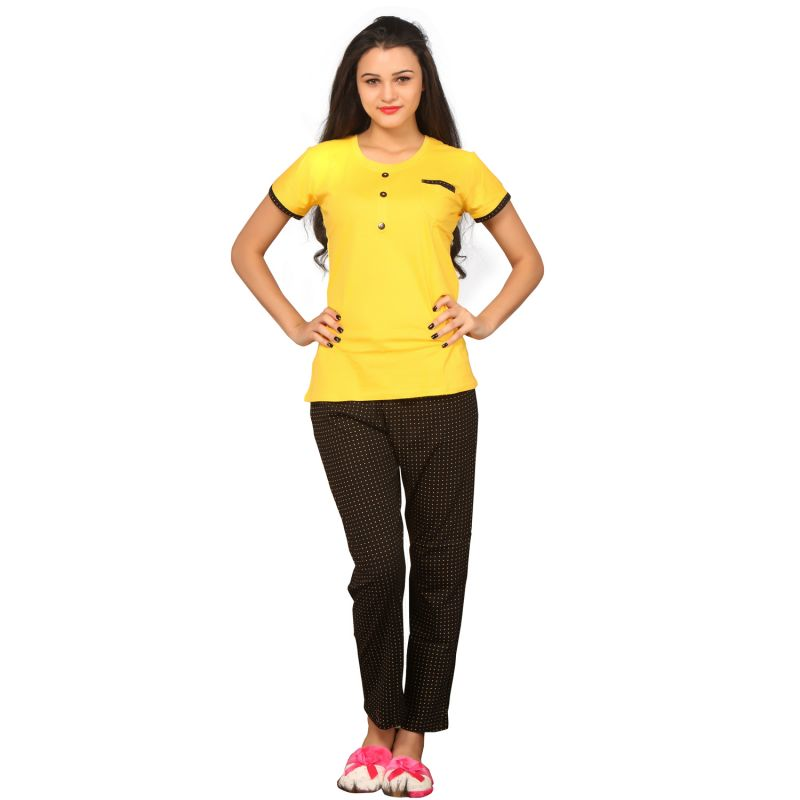 Buy De'Moda Women'S Yellow & Black Night Suit online