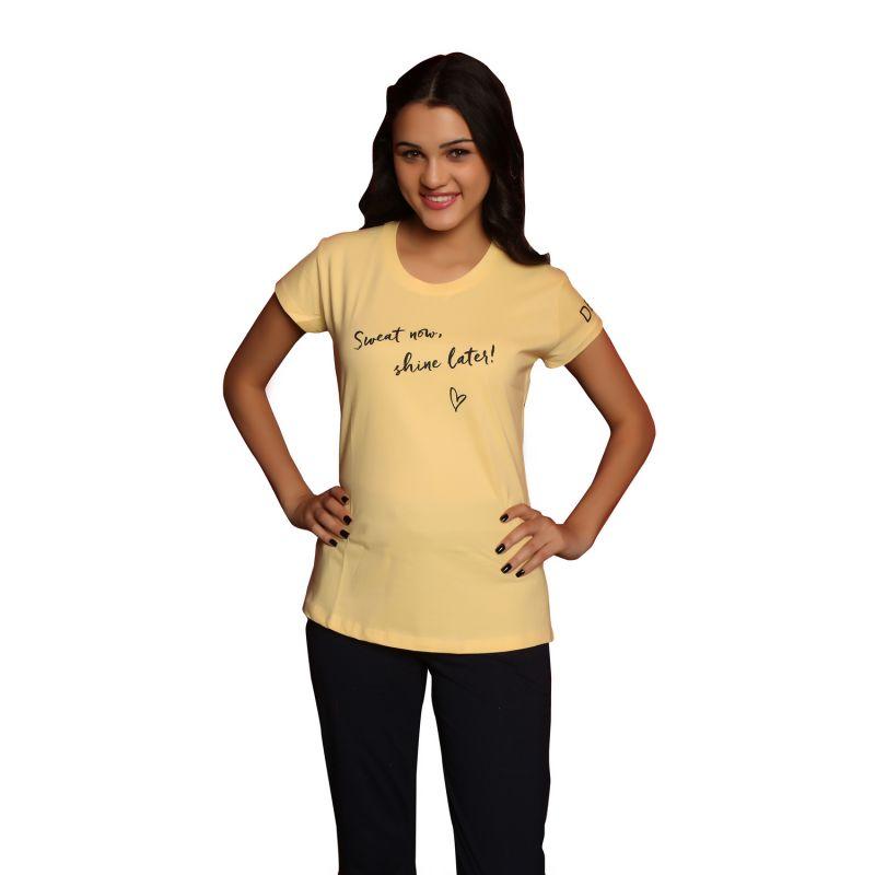 ade9d37b2ee Buy De Moda Women S Yellow Round Neck T-Shirt Online